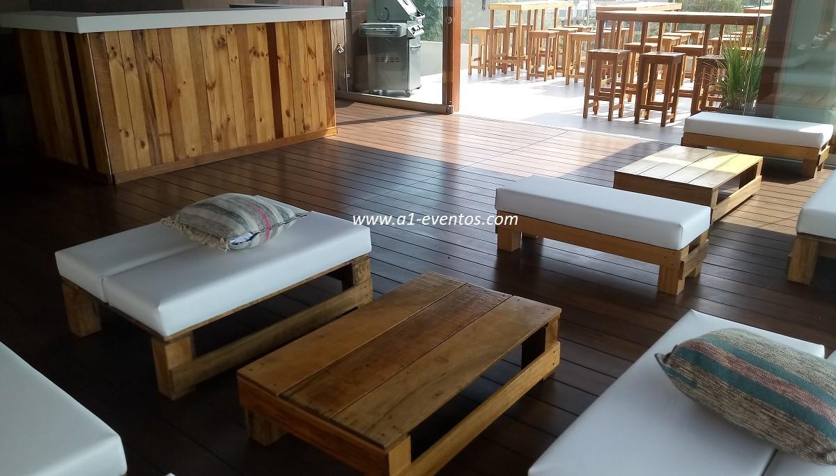 mesa bar madera 06 bancos madera cuadrado 4