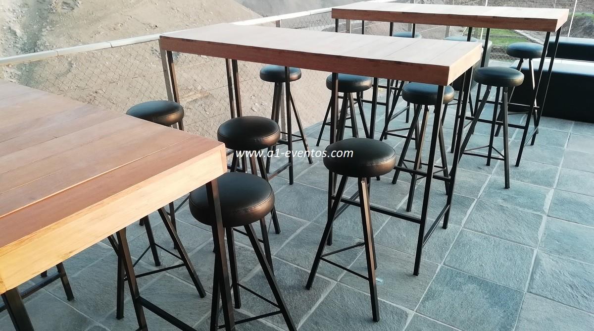 mesa bar industrial 06 bancos redondos 4
