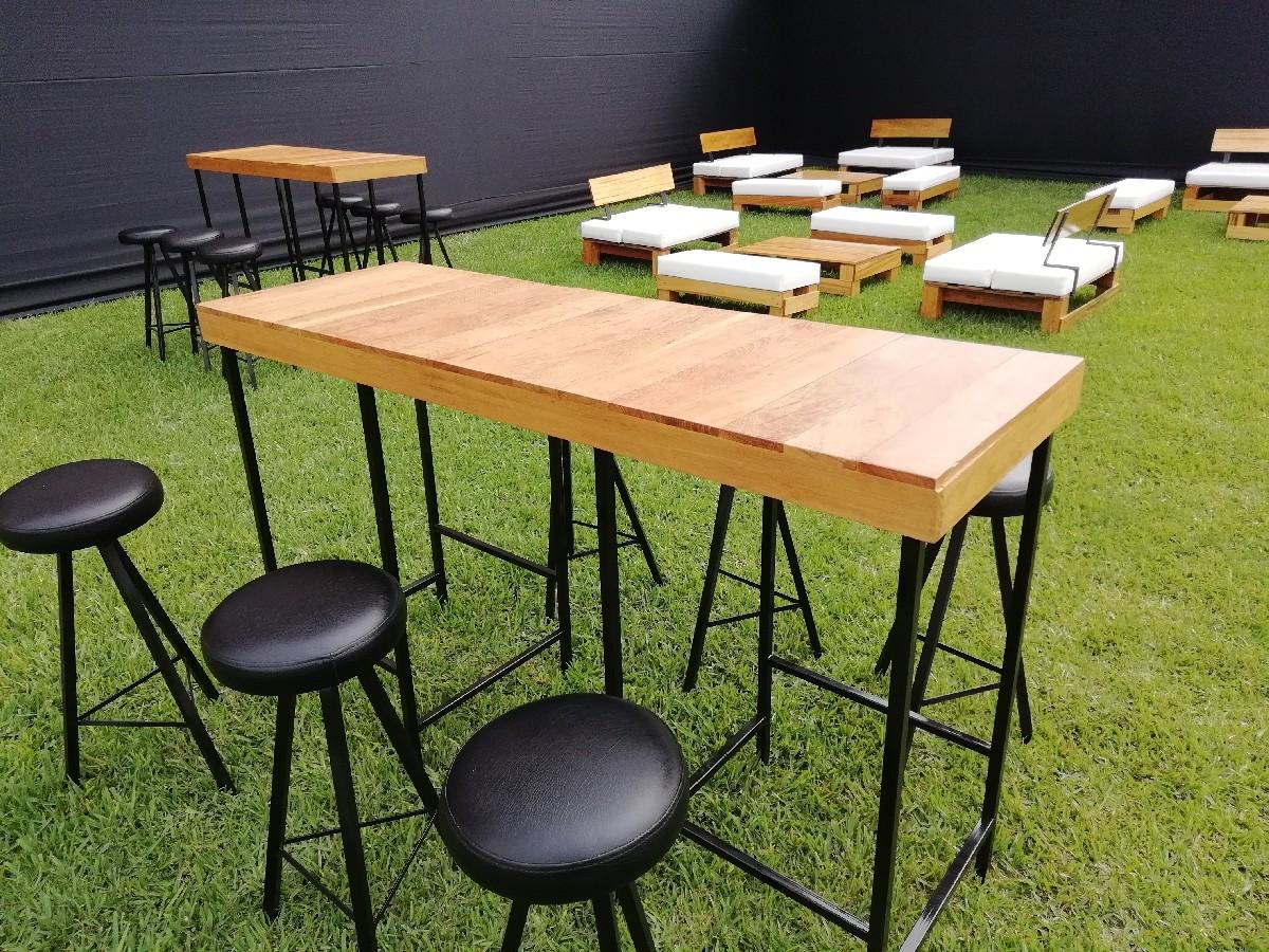 mesa bar industrial 06 bancos redondos 6