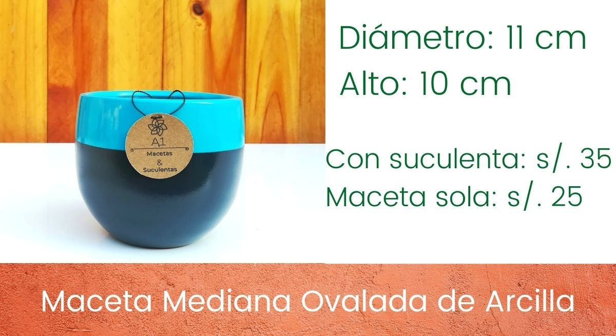 Maceta Mediana Ovalada - Turqueza con negro