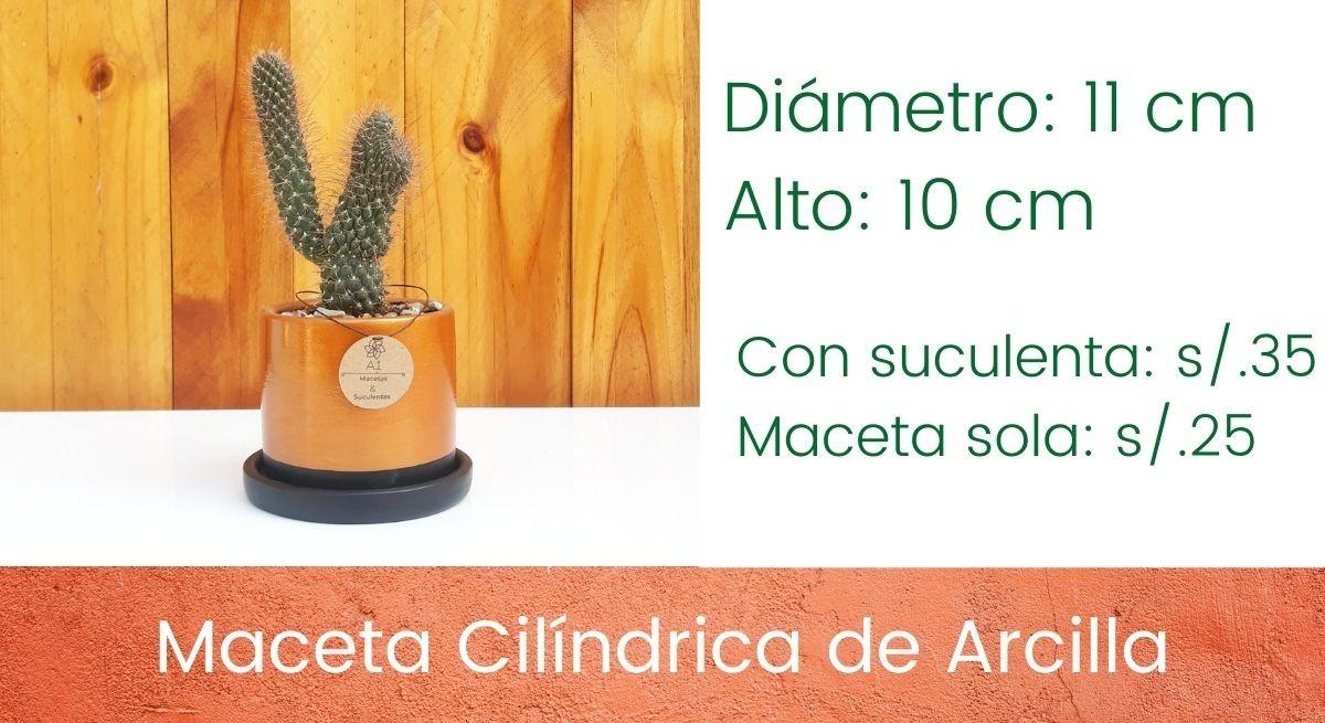 Maceta Cilíndrica de Arcilla - Dorada - negro