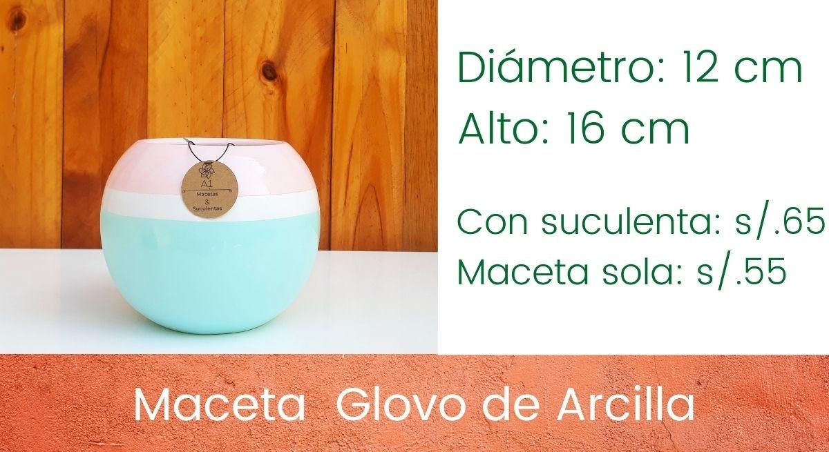 Maceta Glovo de Arcilla - Rosa bebé - celeste - blanco