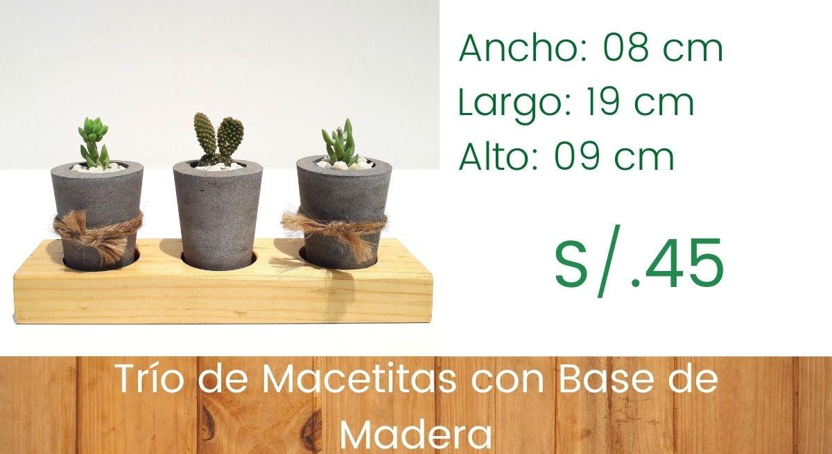 Trío de Macetitas - Modelo Concreto
