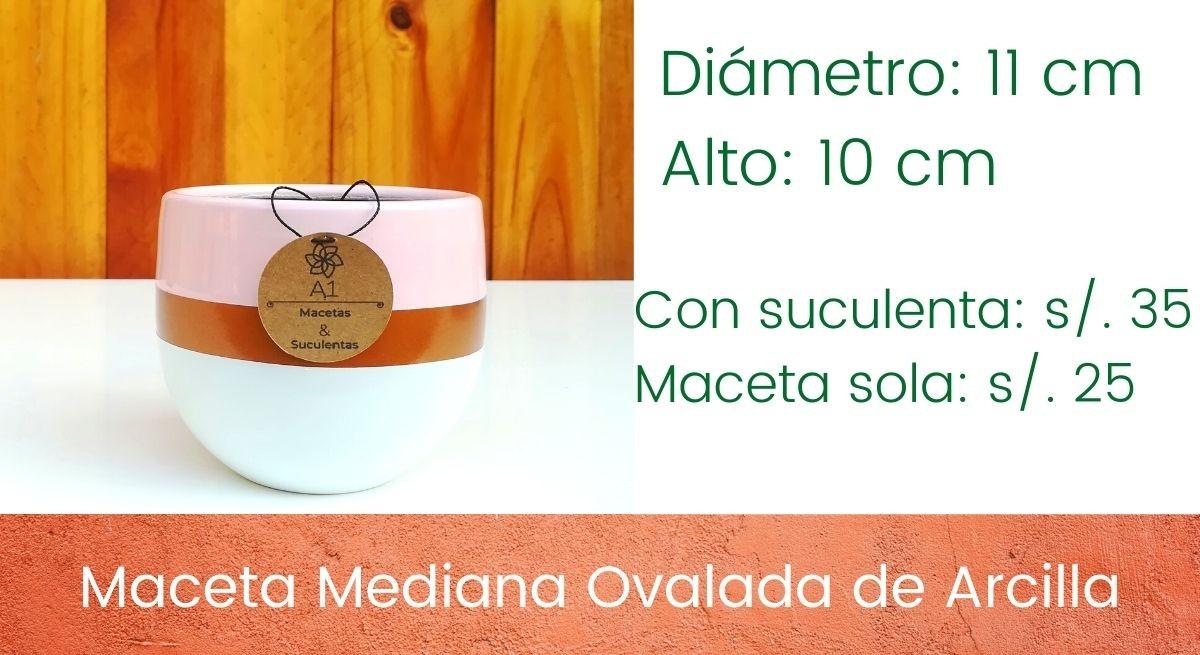 Maceta Mediana Ovalada de Arcilla - Rosa Pastel