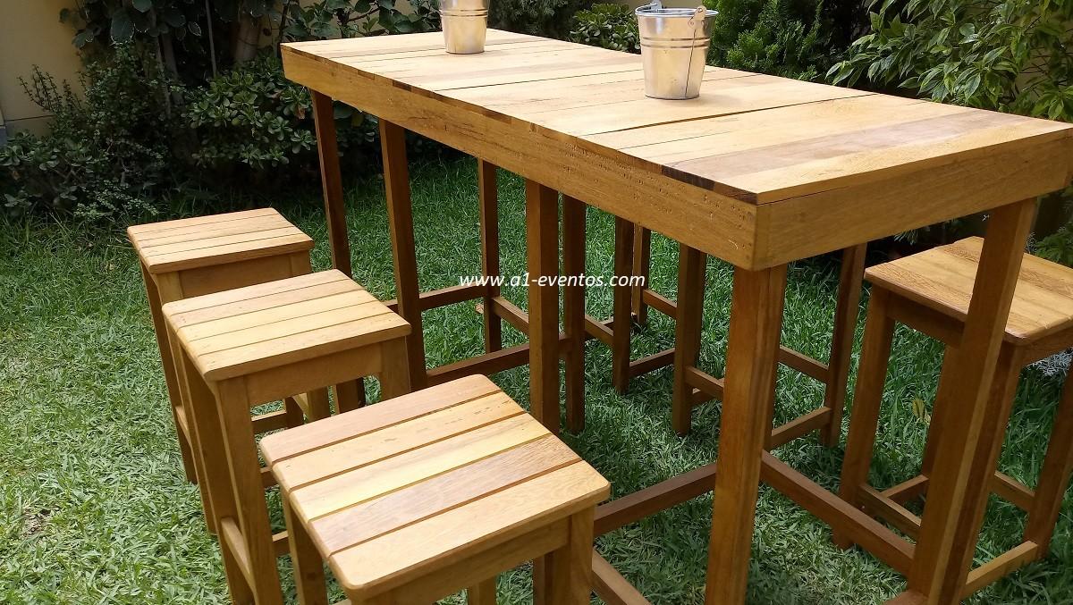 mesa bar madera 06 bancos madera cuadrado