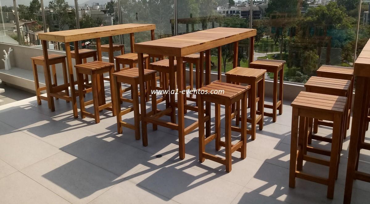 mesa bar madera 06 bancos madera cuadrado 3