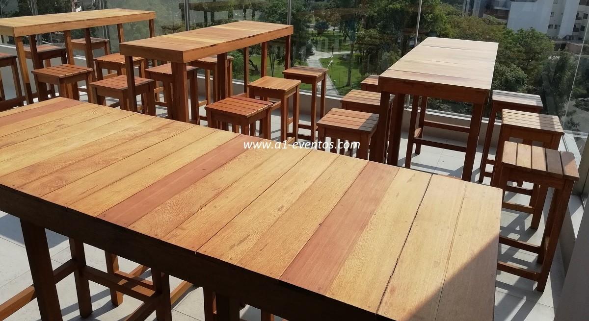 mesa bar madera 06 bancos madera cuadrado 2