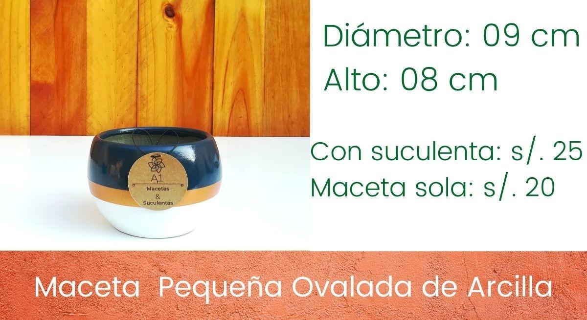 Maceta Pequeña Ovalada de Arcilla - Colores: Azul noche - dorado - blanco