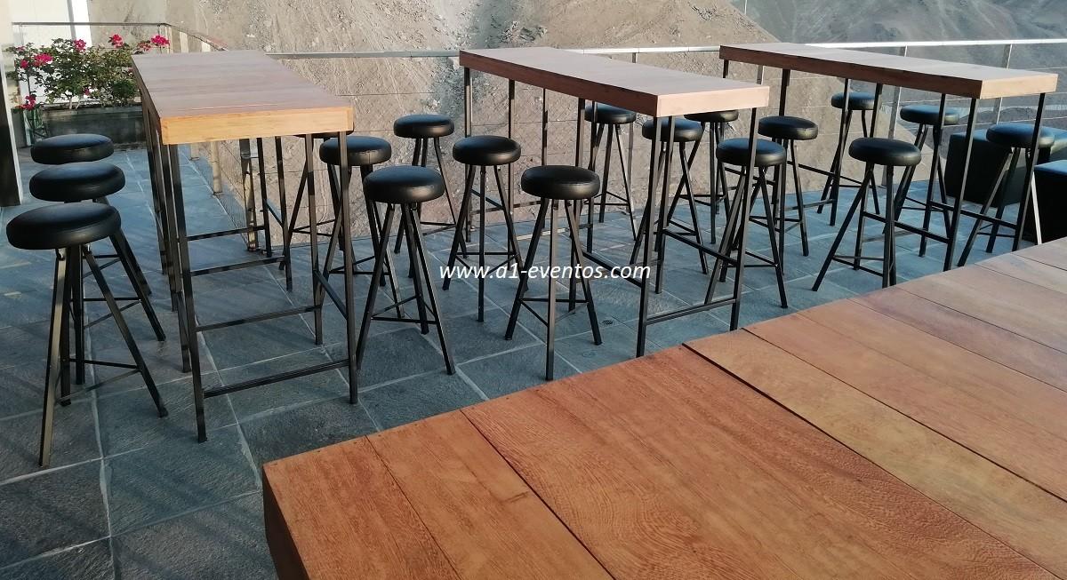 mesa bar industrial 06 bancos redondos 1