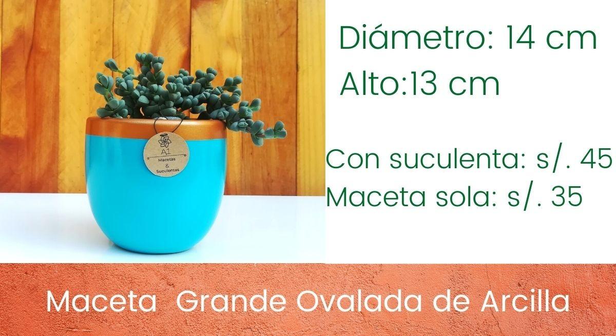 Maceta Gande Ovalada de Arcilla - Colores: Dorado - turquesa